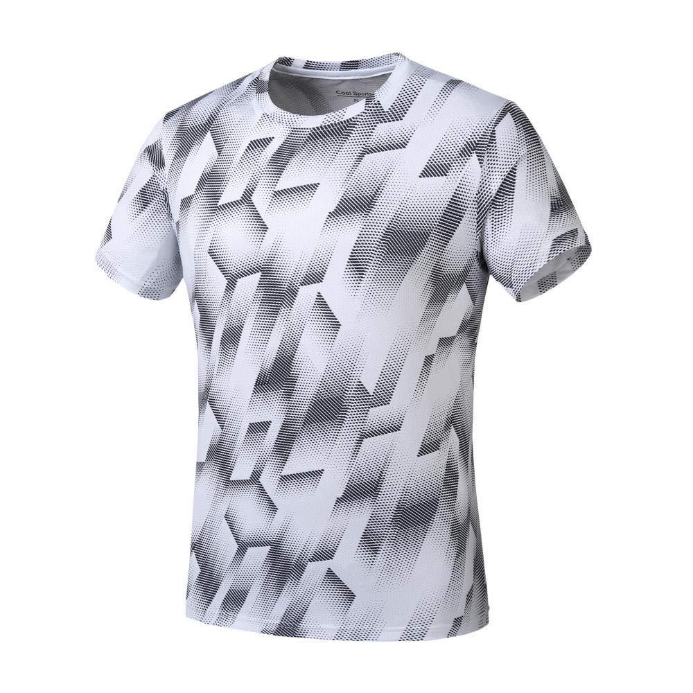 FLHLH Shirt Bodybuilding übersteigt Polyester,Schnelltrocknende Rundhals-Strumpfhose, Fitness-Laufbekleidung, Topsport-T-Shirt-Training