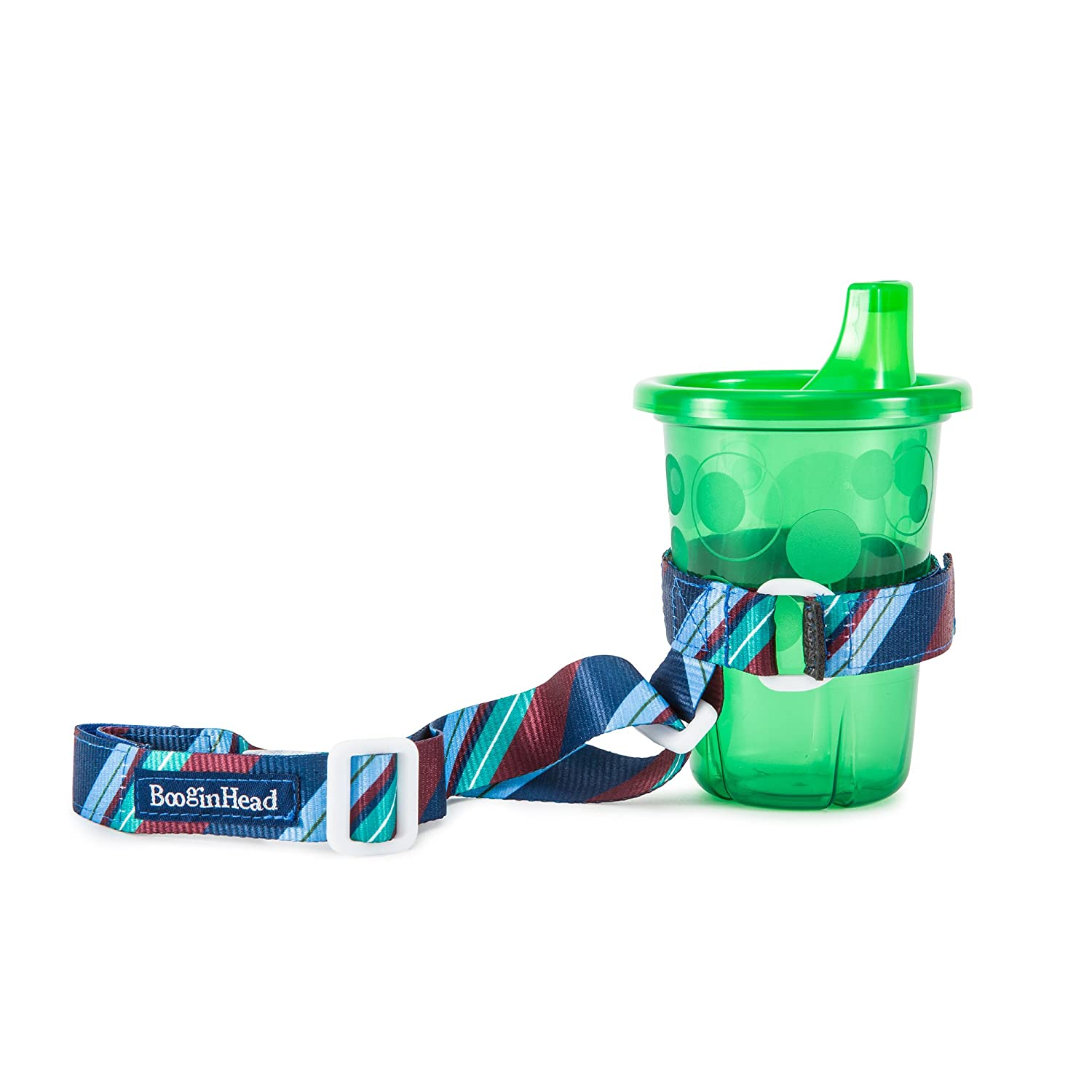 BooginHead BooginHead - SippiGrip Sippy Cup and Bottle Holder, High Chair and Car Seat Universal Attachment Strap - Blue Green Stripe, Blue and Green BGSG-107