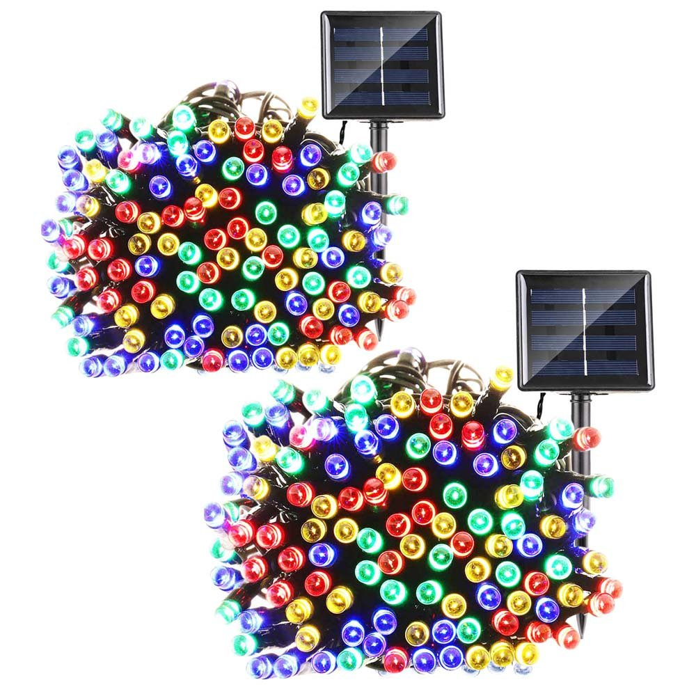 Qedertek Solar String Lights, 72ft 200 LED Fairy Lights, 8 Modes Ambiance Lighting for Outdoor, Patio, Lawn, Landscape, Garden, Home, Wedding (2 Pack, Multi-color)