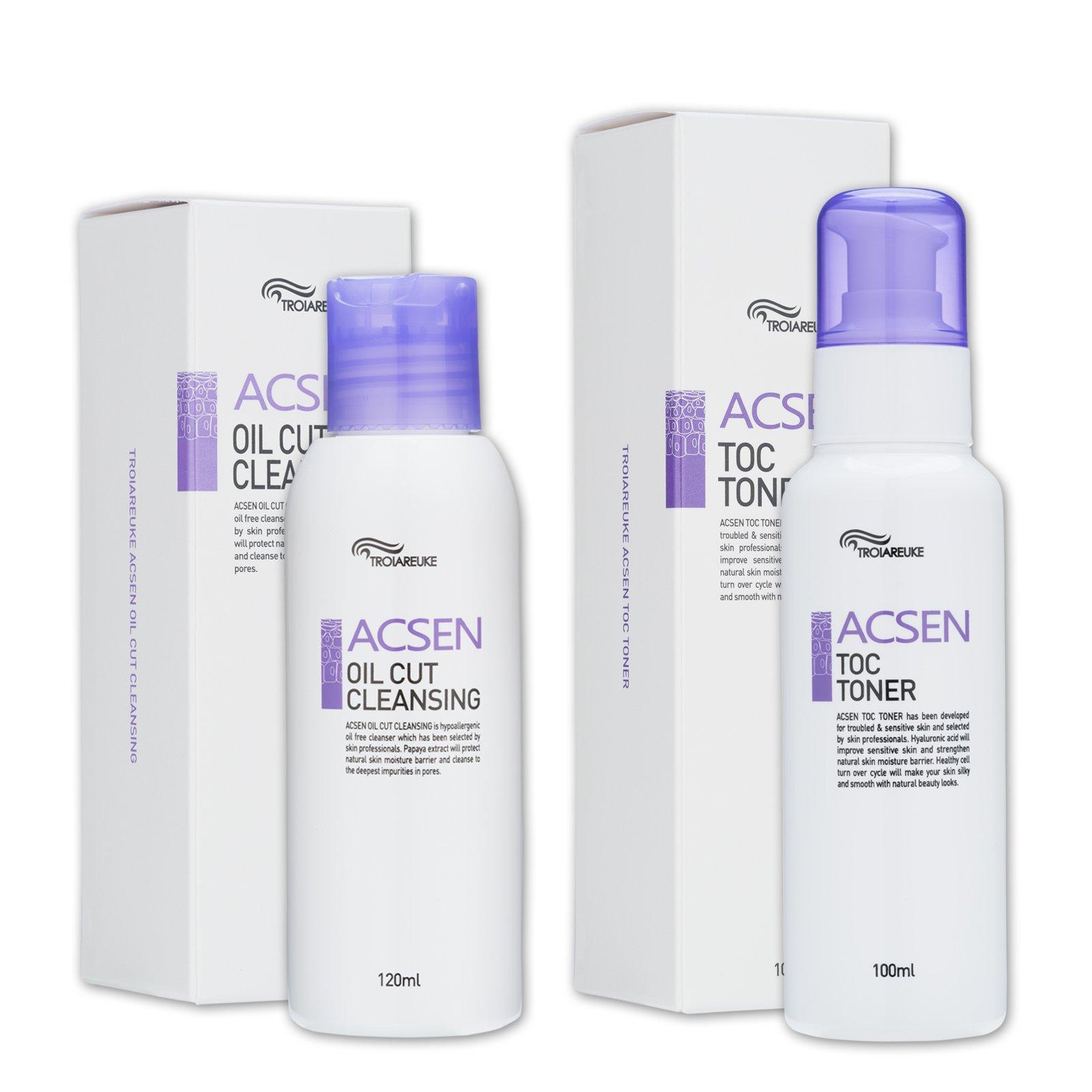 TROIAREUKE Oil Cut Cleansing 4.05 Ounce + ACSEN TOC Toner 3.38 Ounce Set, Skincare Treatment for Acne Trouble Sensitive Skin