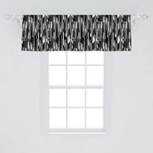 """Ambesonne Black and White Window Valance, Barcode Pattern Abstraction Vertical Stripes in Grayscale Colors, Curtain Valance for Kitchen Bedroom Decor with Rod Pocket, 54"""" X 18"""", Black Grey White"""