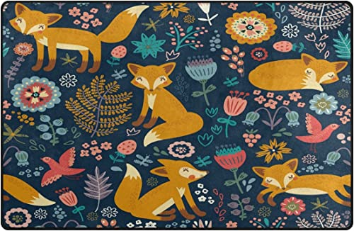 WOZO Floral Hipster Fox Bird Area Rug Rugs Non-Slip Floor Mat Doormat