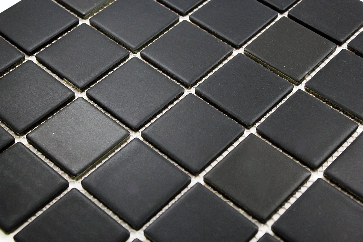 Porcelain Premium Quality 2x2 Black Square Matte Mosaic Tile, Great For Bathroom Tile, Floor Tile, Wall Tile and Kitchen Backsplash Tiles on 12x12 Sheet (Free Shipping)- ( Box of 5 Pcs) by Vogue Tile