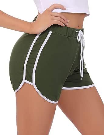 Sykooria Women's Yoga Elastic Waist Shorts Sports Workout Lounge Running Athletic Short with Side Pockes