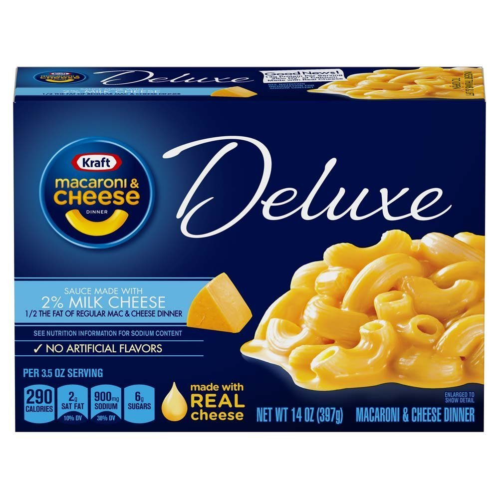 Kraft Deluxe Macaroni and Cheese made with 2% Milk Cheese Meal (14 oz Boxes, Pack of 4)