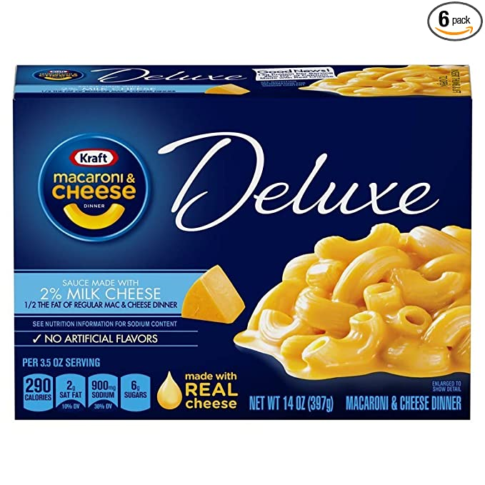 Amazon Com Kraft Deluxe Macaroni And Cheese Made With 2 Milk Cheese Meal 14 Oz Boxes Pack Of 6 Packaged Macaroni And Cheese Grocery Gourmet Food