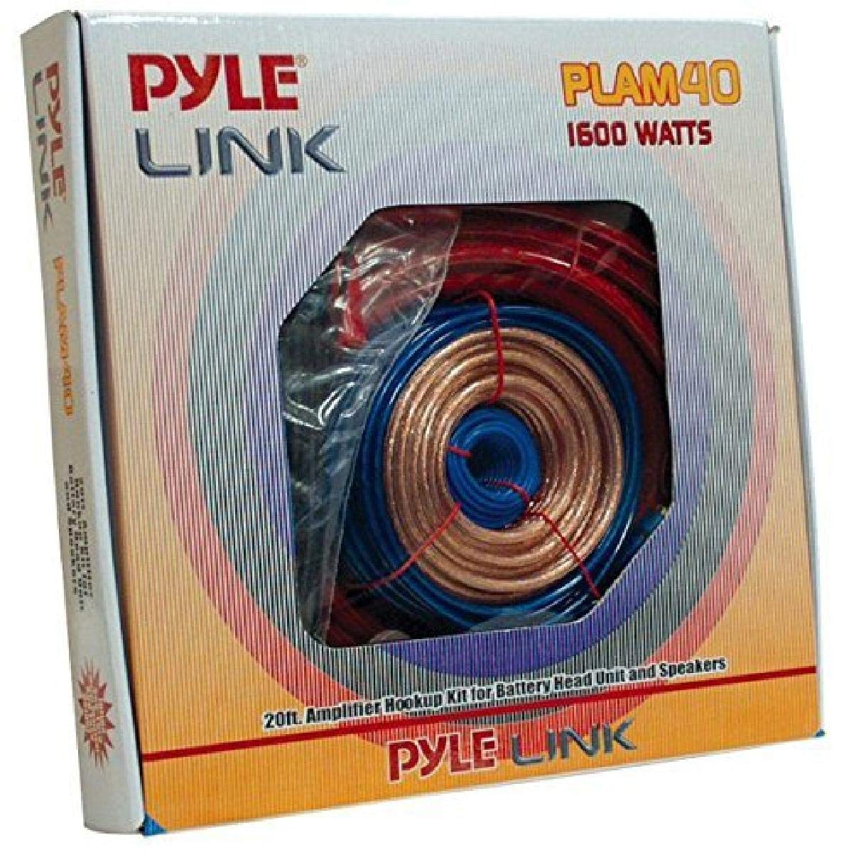 Pyle Car Stereo Wiring Kit - Audio Amplifier & Subwoofer Speaker Installation Cables (4 Gauge), Blue (PLAM40)