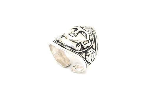 Rajasthan Gems Ring Unisex Temple Jewelry 925 Sterling Silver God Bahubali Jain P 128