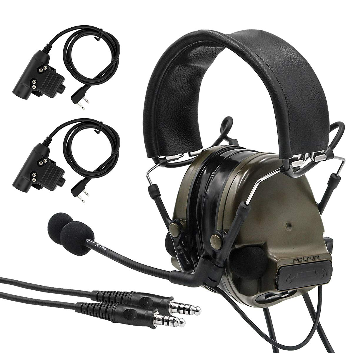TAC-SKY Comta III Double Plugs Tactical Headset,Ear Protection,Sound Amplification for Airsoft Sport (Army Green) by TAC-SKY