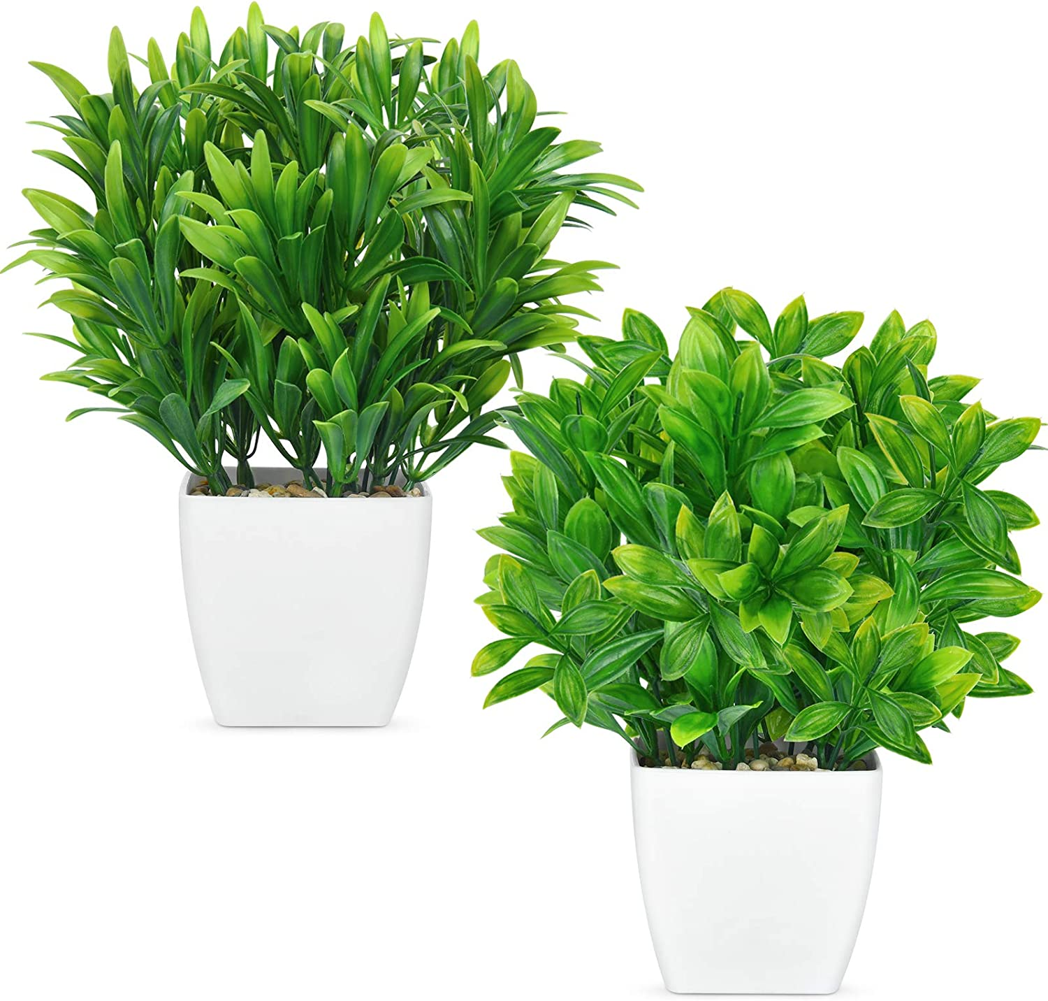 Shiny Flower 2 Pack Artificial Eucalyptus Plants in Pots Mini Green Faux Potted Plants with Plastic White Vase Fake Aloe Grass for Home Indoor, Office, Desk, Table Bathroom Bedroom Decor