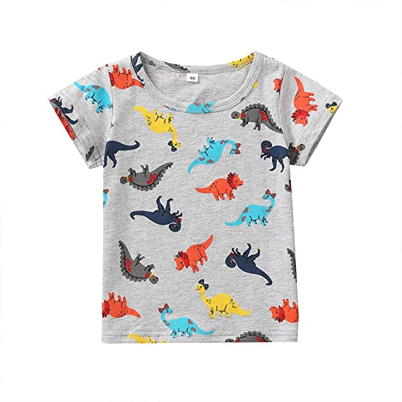 Amazon.com: Iuhan Boys Shirts Summer Baby Kids Cartoon Dinosaur ...