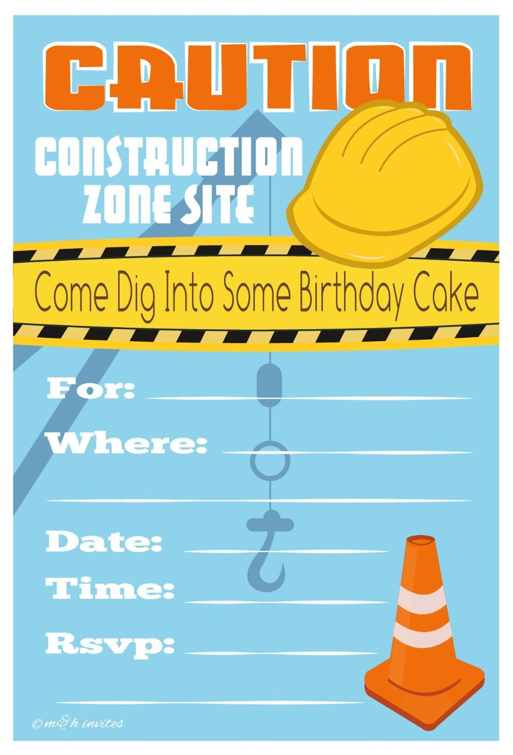 Amazon.com: Construction Birthday Party Invitations - Fill In Style ...