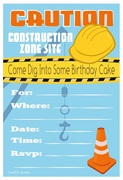 Amazoncom Construction Birthday Party Invitations Fill In Style