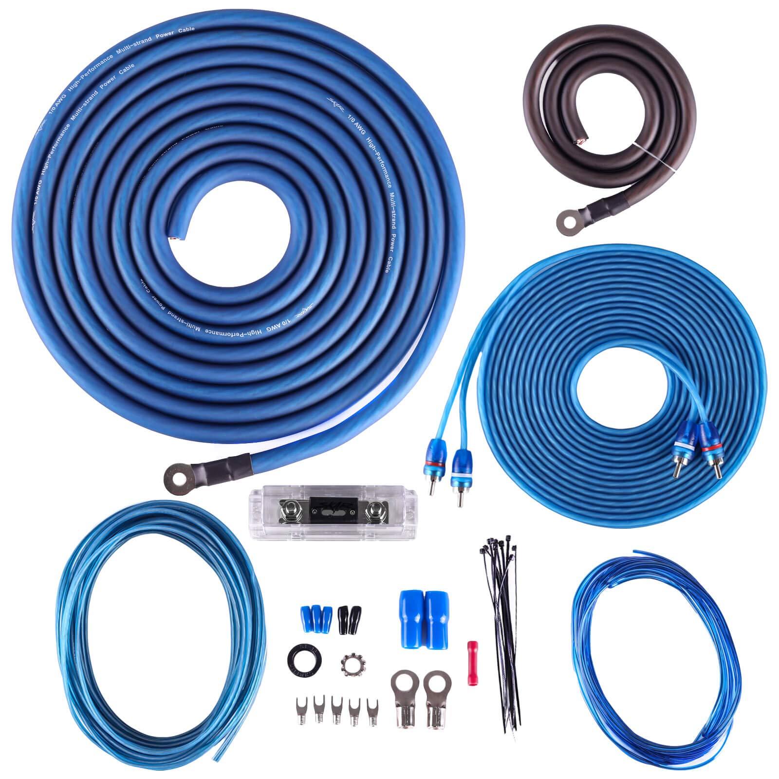 Skar Audio 1/0 Gauge CCA Complete Amplifier Installation Wiring Kit, SKAR0ANL-CCA