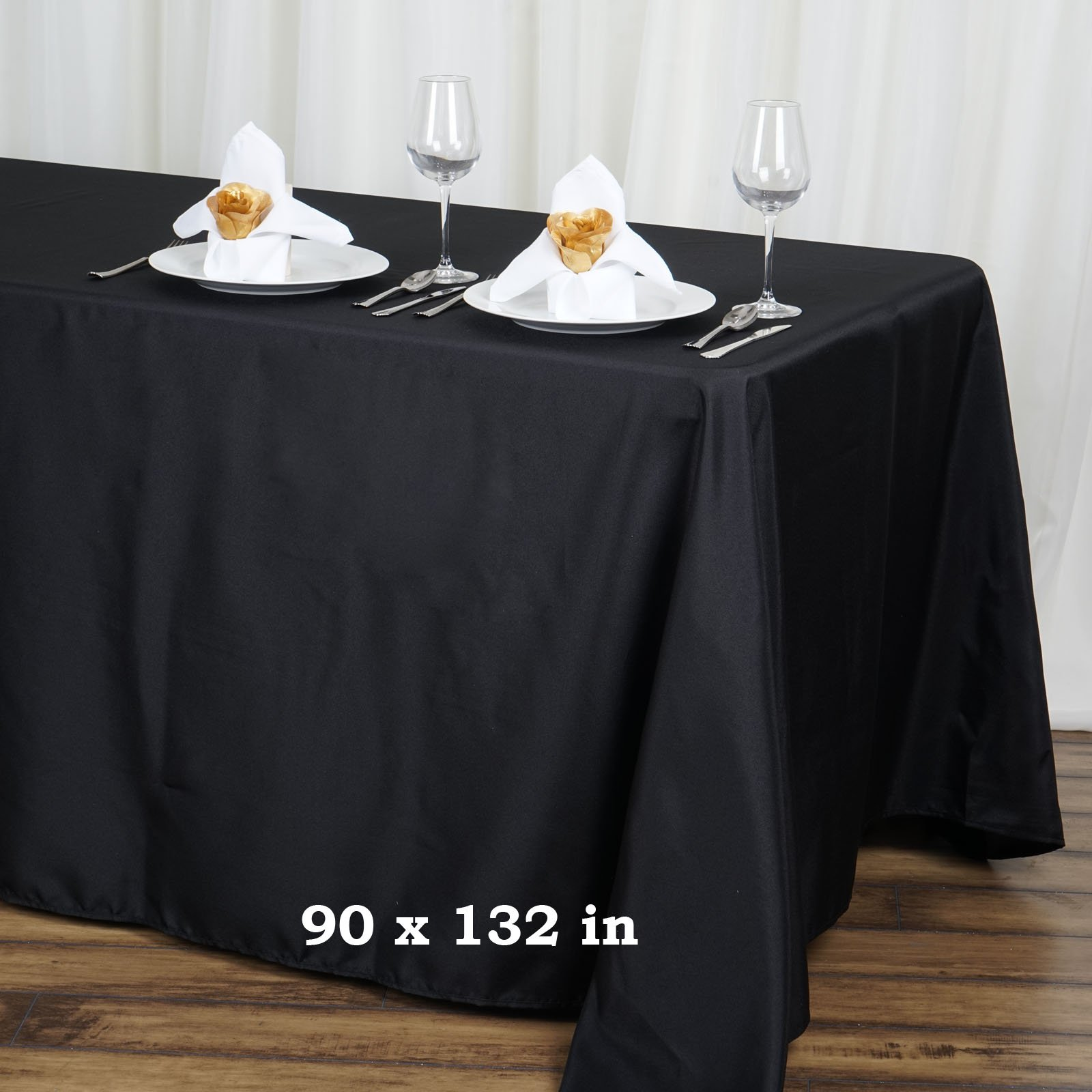 LinenTablecloth 90 x 132-Inch Rectangular Polyester Tablecloth with rounded corners Black