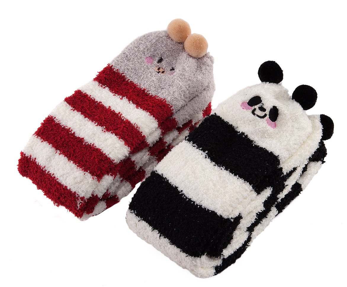 Littleforbig Cute Animal Coral Fleece Thigh High Long Striped Socks 2 Pairs LB-SL-S202