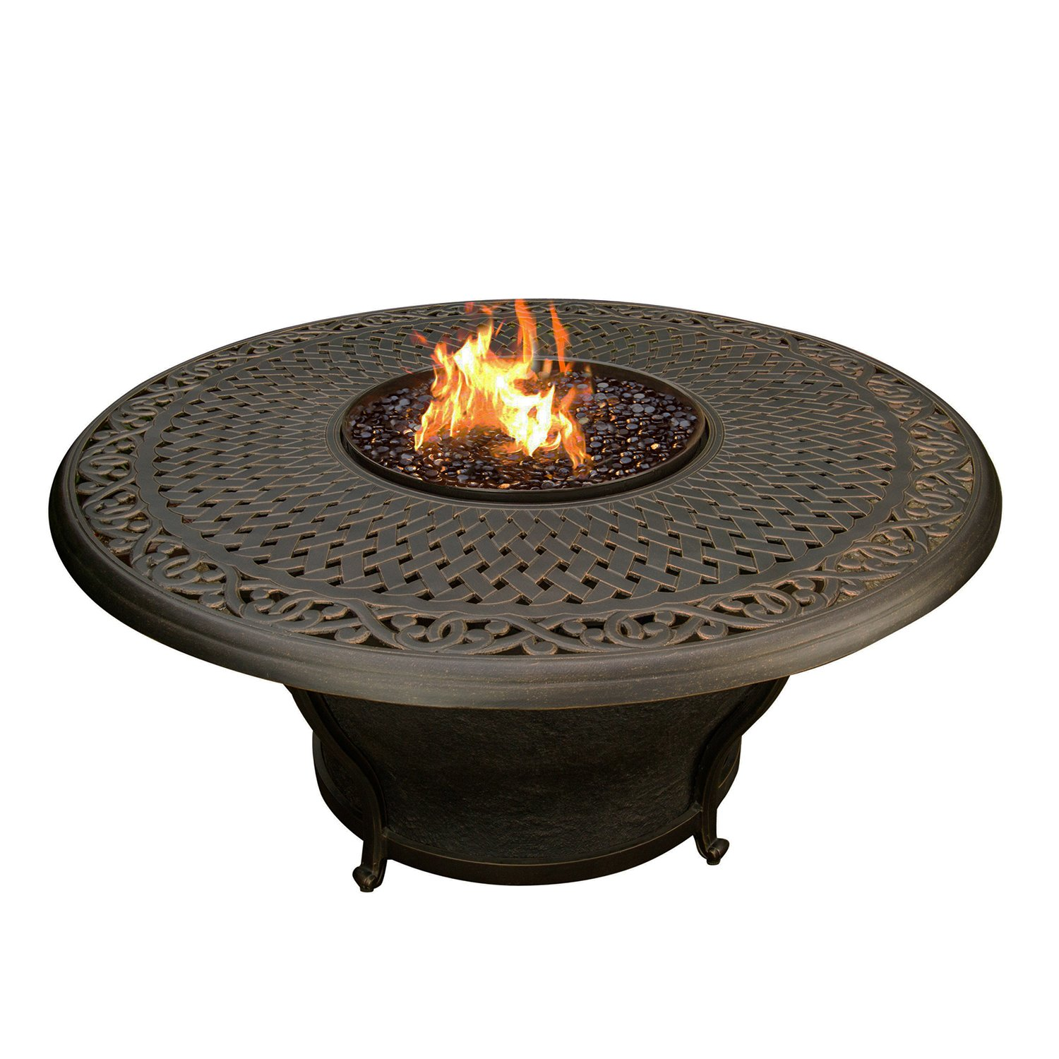 Oakland Living Charleston Round Gas Firepit Table, Antique Bronze AZ8206-RD48-GST-AB