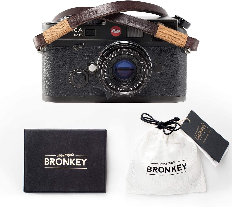 Bronkey Tokyo 105 (95 cm) - Correa para Cámara compacta - Cuello Hombro Vintage Retro cámara Piel Cuero Original Enganche Universal para Sony, Fuji, Leica, Pentax, Etc.