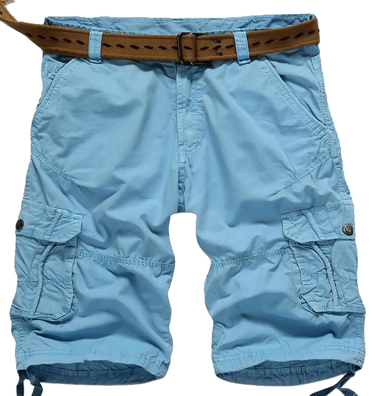 WANSHIYISHE Mens Casual Multi-Pockets Twill Travel Work Cargo Shorts