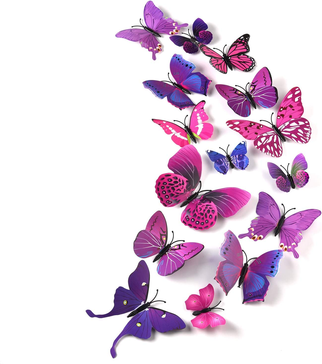 Tuparka 36 Pieces 3d Butterfly Wall Stickers Wall Butterflies Girls Bedroom Accessories Multi Color Optional Purple Amazon Co Uk Diy Tools