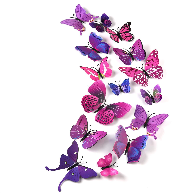 Pieces 3D Butterfly Wall Stickers Wall Butterflies Girls Bedroom Accessories...