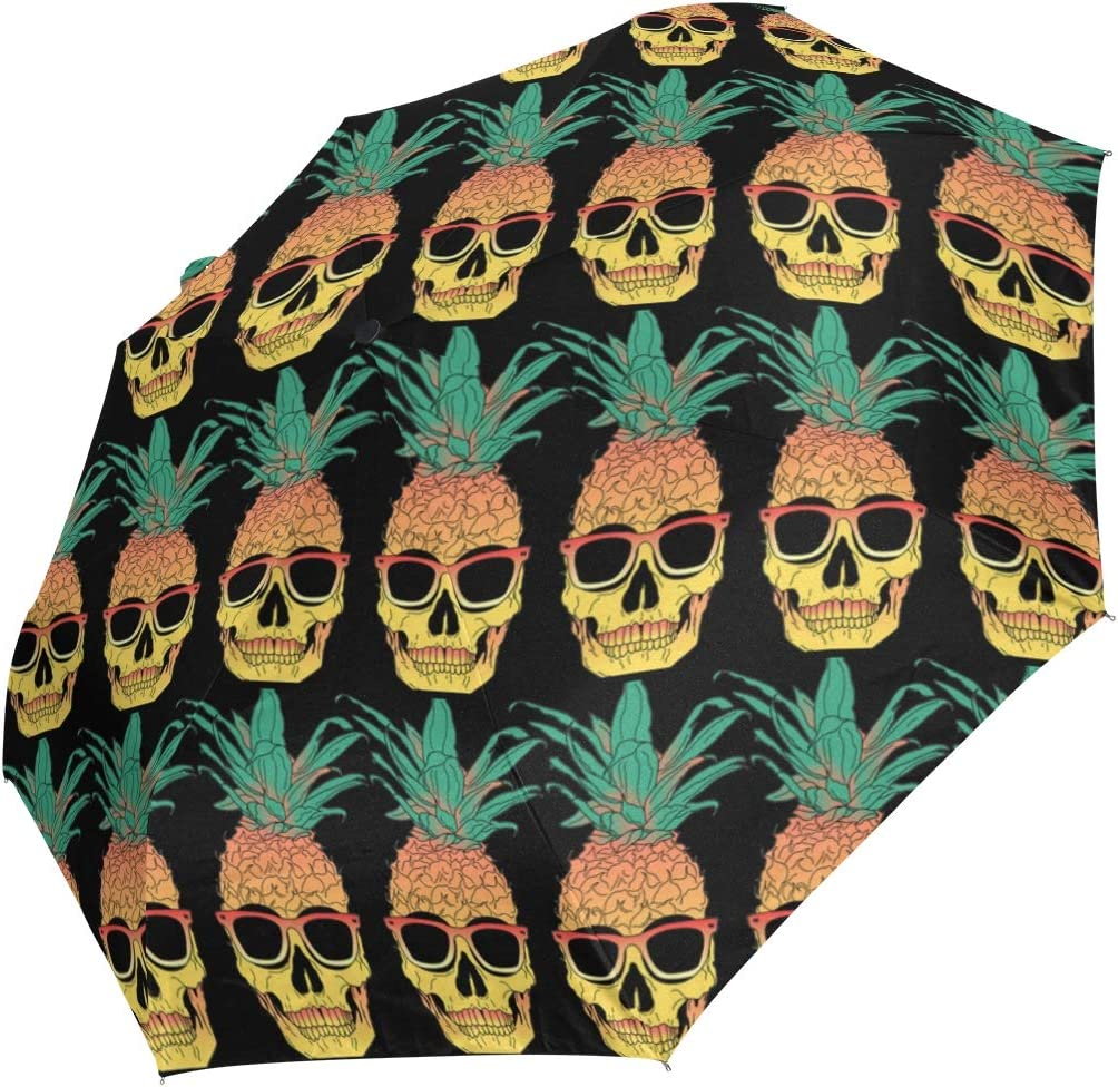 Pineappl Skull Sunglasses fashion print cute Windproof automatic tri-fold umbrella sun UV protection Sun umbrella