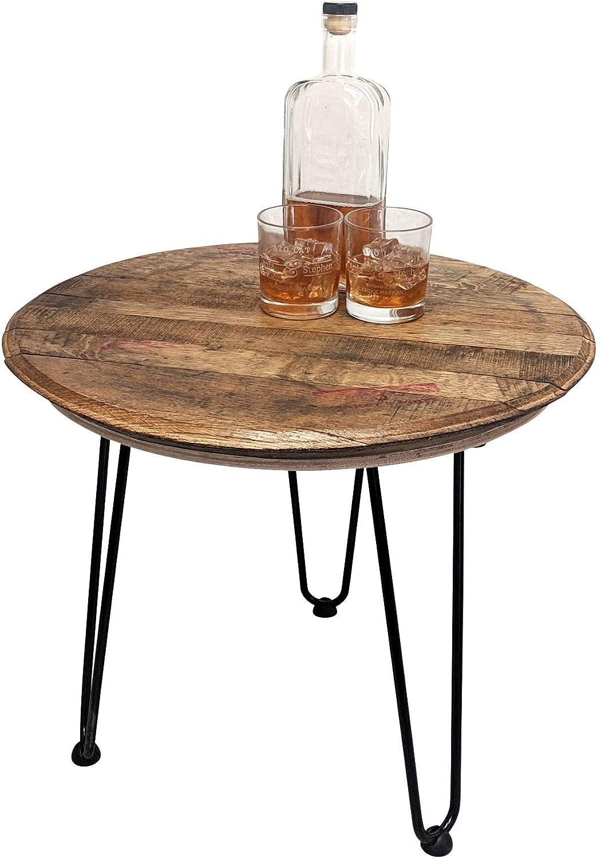 Random Selection WhiskeyMade Reclaimed Bourbon Whiskey Barrel Head Table Bourbon Belt Distillery