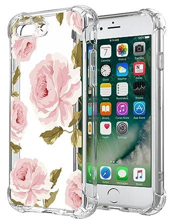 Amazon.com: Floral transparente iPhone 7 Plus Funda para ...