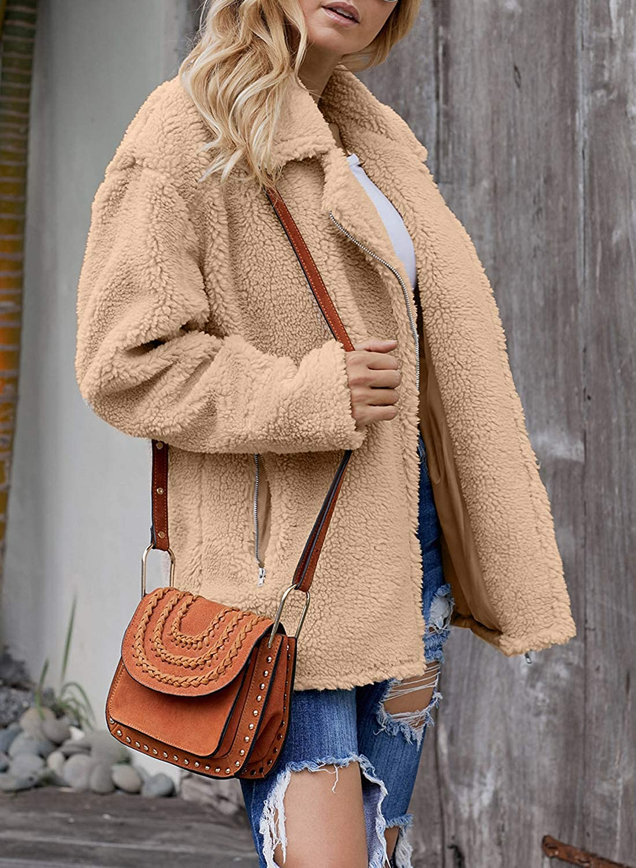 Elapsy Womens Fashion Fleece Zip Up Sherpa Jacket Lapel Warm Cardigan Coats with Pockets Outwear