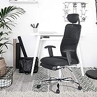 Aingoo Noir Chaise de Bureau Fauteuil de Bureau Ergonomique à Dossier Haut en Maille avec accoudoirs réglables Repose-Pieds