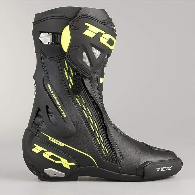 TCX Botas RT-Race Negro-Amarillo fluorescente 44: Amazon.es: Coche y moto