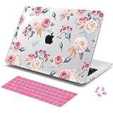 Btianda MacBook Retina 12インチ 薄型 耐衝撃 保護 ハードケース シェルカバー (対応モデル:A1534)日本語キーボードカバーと防塵カバー付き (かわいい花)
