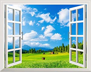 Removable Wall Sticker/Wall Mural - Blue Sky and Green Grass Out of The Open Window Creative Wall Decor - 24
