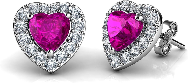 DEPHINI - Pendientes de corazón rosa de plata de ley 925 con colgante de cristal de circonita cúbica y circonitas cúbicas