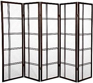 Oriental Furniture 5 ft. Tall Double Cross Shoji Screen - Walnut - 5 Panels
