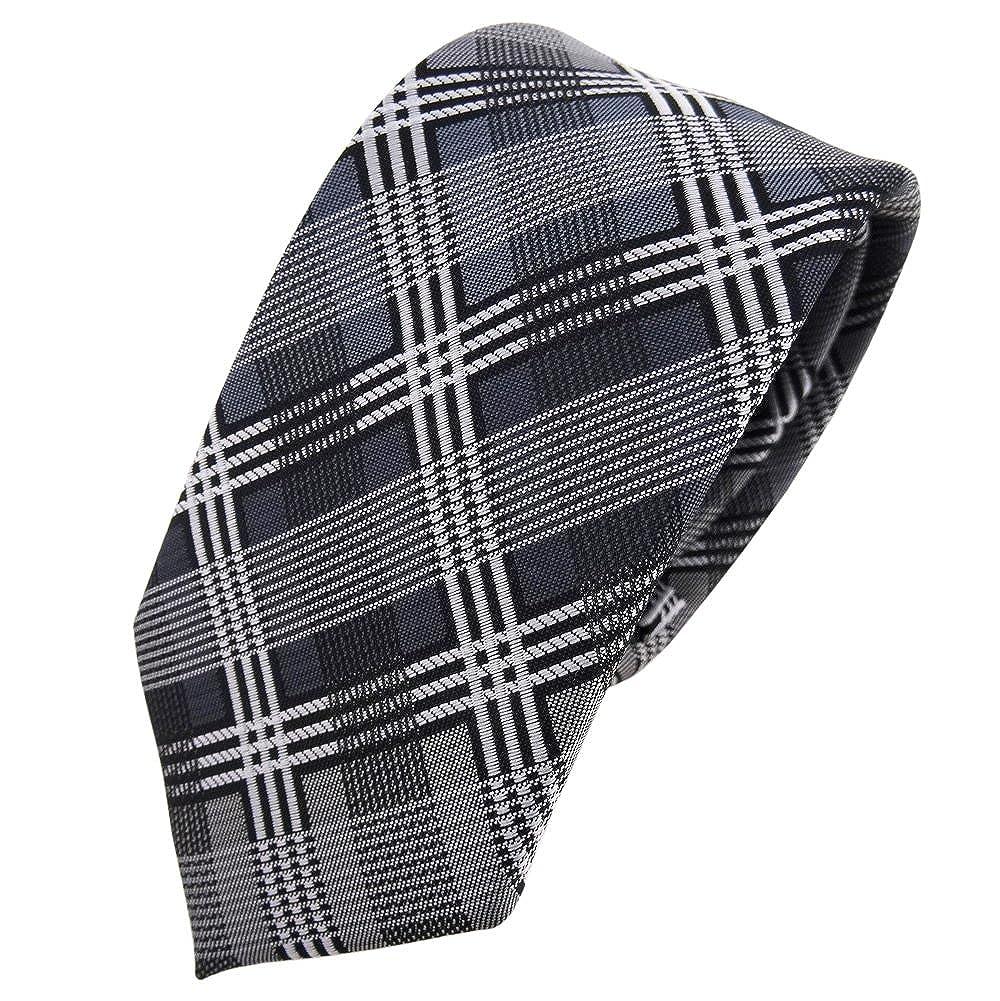 TigerTie - corbata estrecha - plata antracita gris negro a cuadros ...