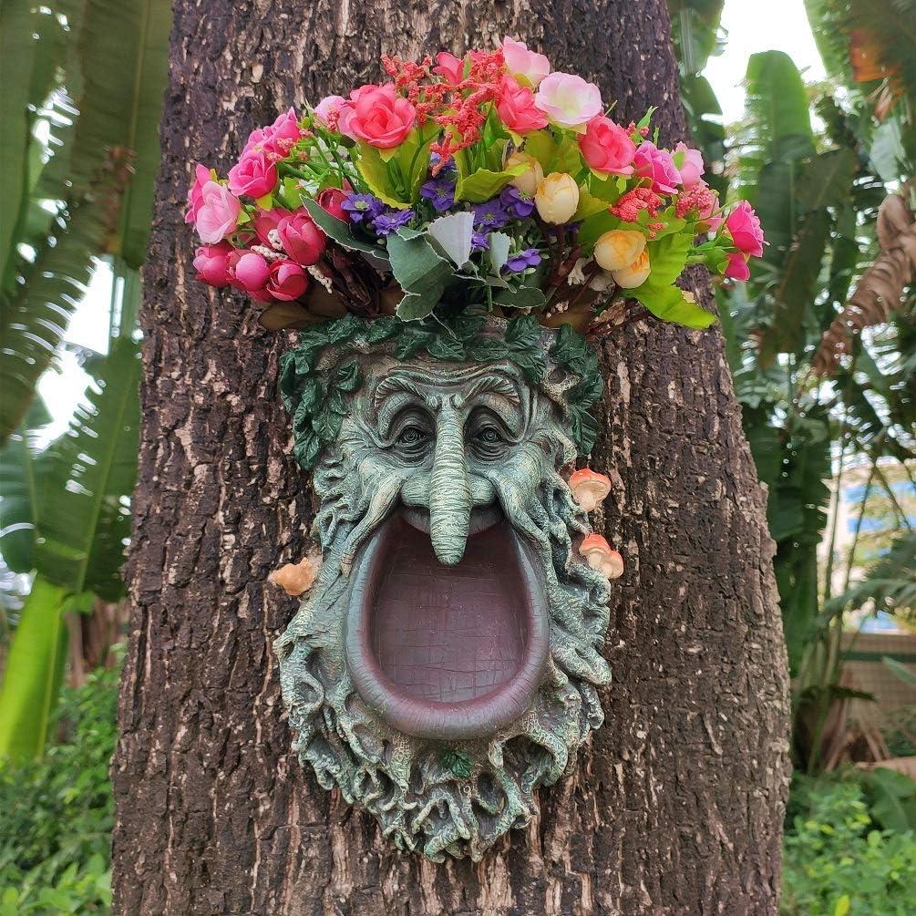 JHP Big Mouth Old Man Tree Face Sculpture, Flower Planter Pot Hand-Painted Greenman Tree Peeker Bird Feeder Garden Decor and Yard Art. -10'' H