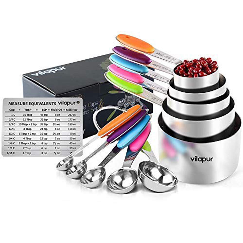 Vilapur misurini e cucchiaini da 13 durevole in acciaio INOX 304 5 misurini e 5 cucchiai dosatori con tabella di conversione 2 o anelli e misurazione magnetica