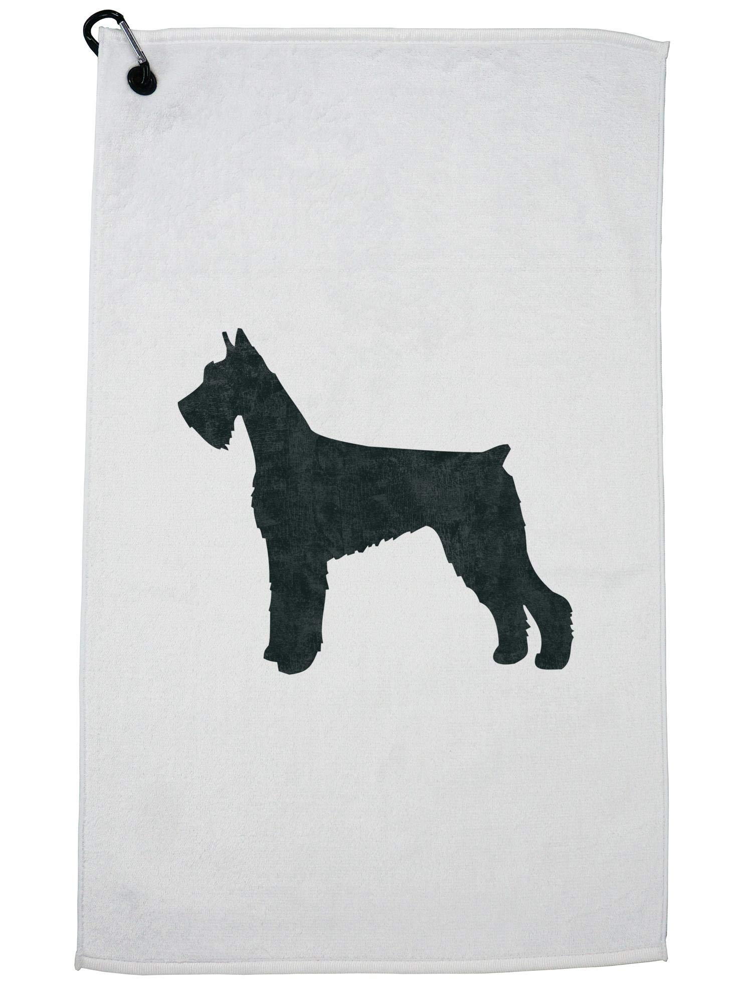 Hollywood Thread Giant Schnauzer Dog Golf Towel with Carabiner Clip