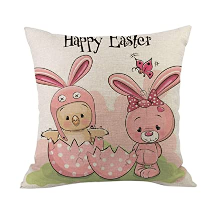 Keepfit Rabbit and Eggs Pillow Cover Sofa Bed Home Decoration A Happy Easter Cute Printing Pillow Case