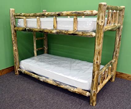 Amazon Com Midwest Log Furniture Rustic Log Bunkbed Twin Over