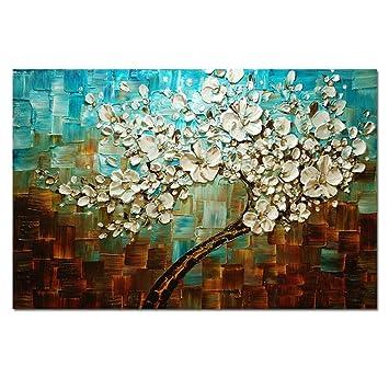 Gut AtfArt 100% Handarbeit Malerei Abstrakte Blaue Blumen Wohnzimmer Dekorative  Malerei Spachtel Farbe Dick Ölgemälde Auf