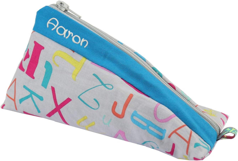 Estuche personalizado con letras con nombres, estuche escolar con nombre, color Federm_Buchs_blau 20 cm lang und unten 10 cm breit: Amazon.es: Oficina y papelería