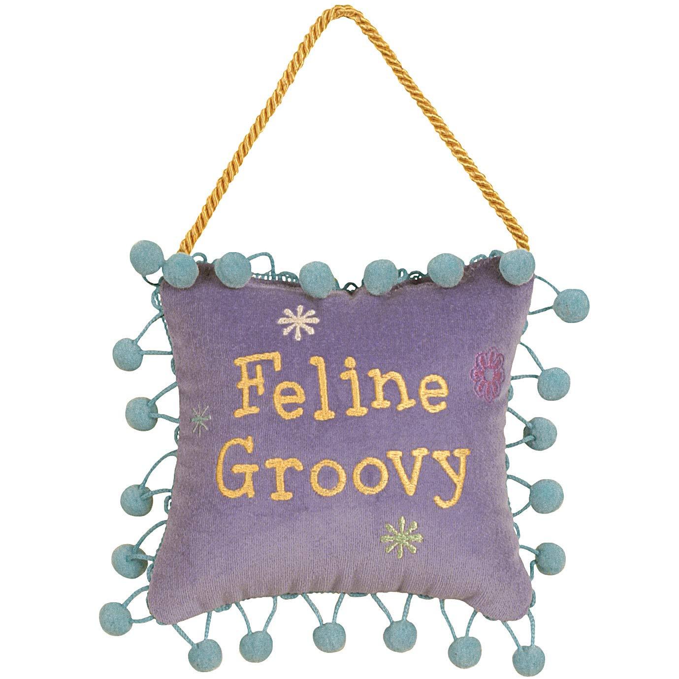 Feline Groovy Door Hanger Gift for Cat Lover in Lavender, 6x6