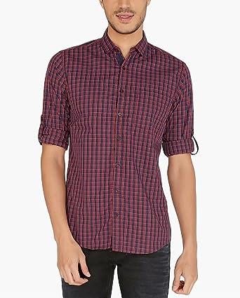 Nick y para Hombre Jess Granate & Blue Tartan Cuadros Slim Fit Camisa de Popelina Rojo Rojo (Maroon): Amazon.es: Ropa y accesorios