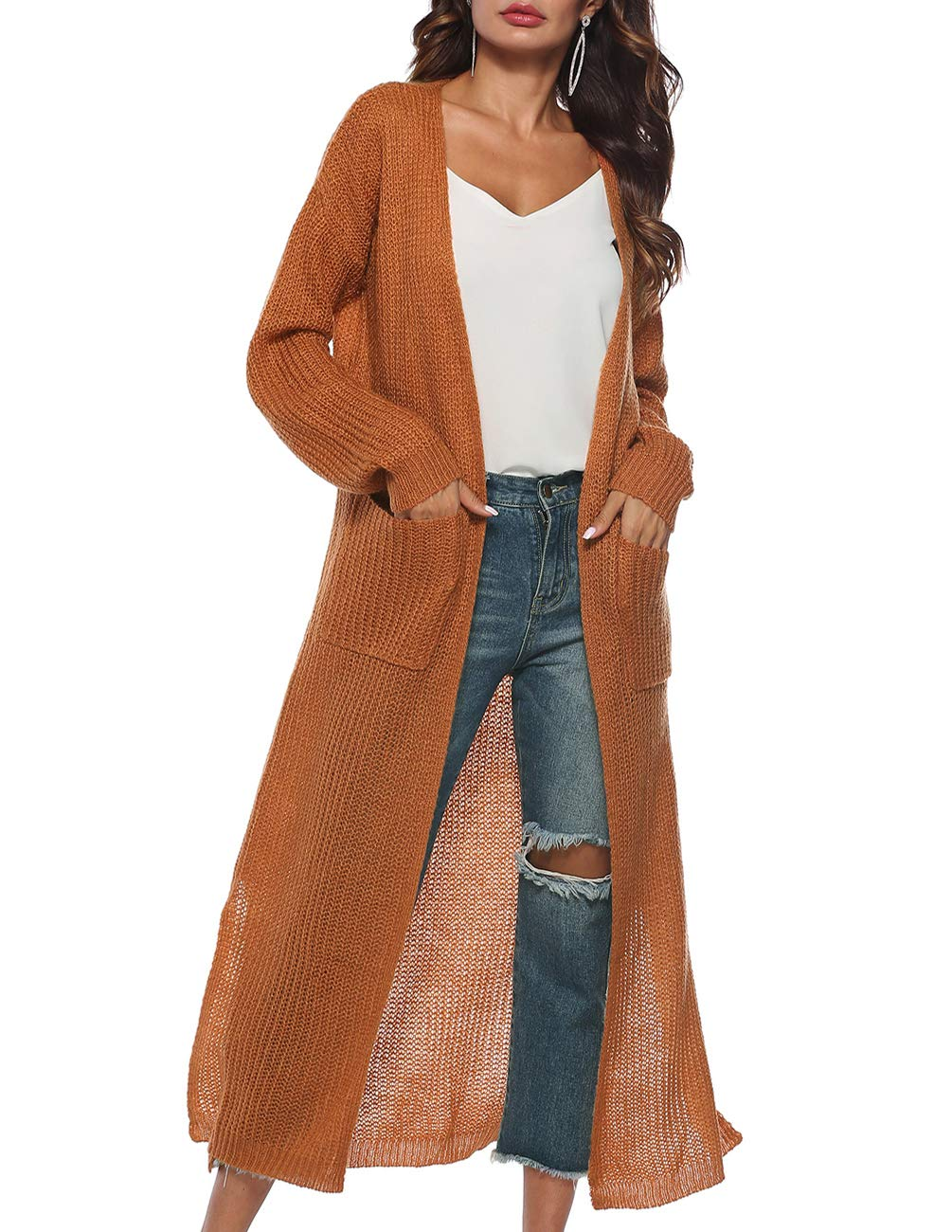 Blingfit Womens Casual Long Sleeve V Neck Cardigan Coat Chunky Knit Cardigan Sweater Slit Long Duster Cardigan Pockets