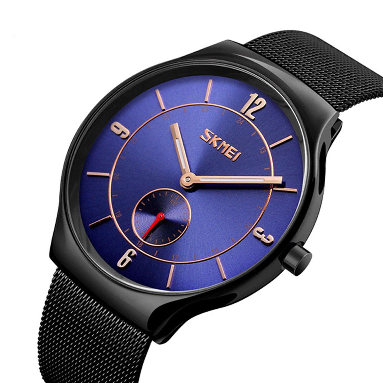 ファッションカジュアルスポーツビジネスメンズクォーツ腕時計防水ステンレススチールメッシュストラップ超薄型ダイヤル ブラックブルー B076QCS2QTブラックブルー