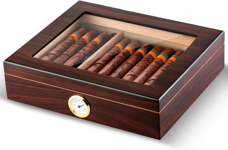 Cigar Humidor Handmade Wood Cigar Box Desktop Humidor with Hygrometer and Humidifier,Cedar Divider Royale Glasstop Holds 20-25 Cigars