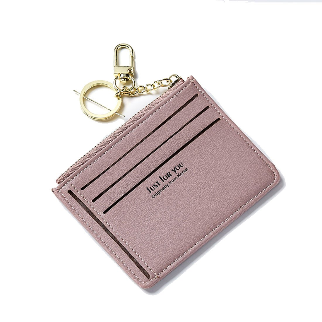 Slim Wallet Women Cute Purse Super Thin Card Holder Compact Pocket Mini Pouch With ID Card Window Keychain Teengirls Greypink