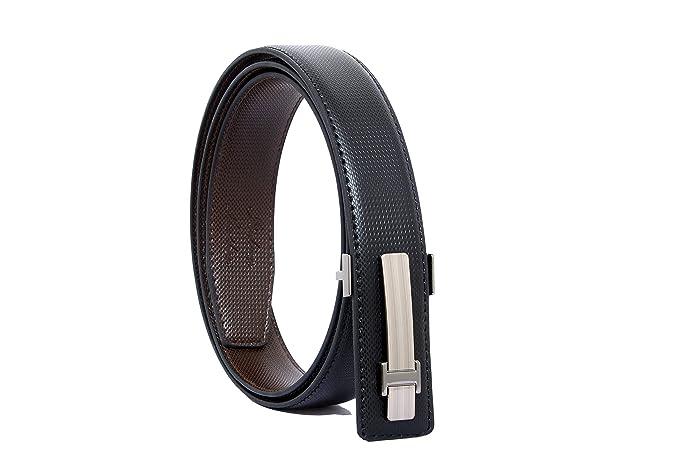 Men/'s Casual Formal Black Italian Leather Belt Strap w// Buckle